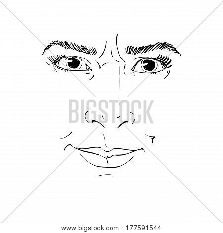 Hand-drawn vector illustration of irate woman. Monochrome image negative expressions on face of young lady angry woman rebukes somebody.
