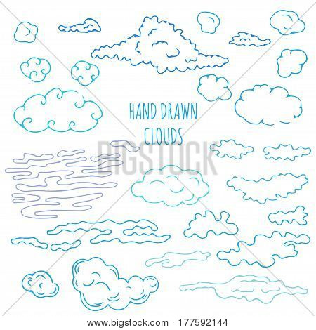Hand drawn clouds set. Stock vector illustration for decoration weather icons