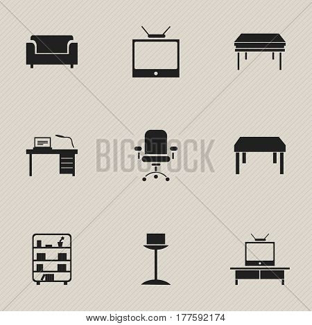 Set Of 9 Editable Furnishings Icons. Includes Symbols Such As Trestle, Television, Couch And More. Can Be Used For Web, Mobile, UI And Infographic Design.