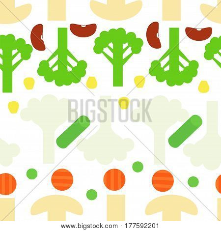 Sliced frozen colorful vegetables seamless pattern on white background. Stock vector illustration of veggies food for healthy lifestyle.
