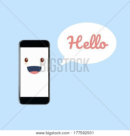 Cute smartphone with Hello word in speech bubble. Elegant Design for smart technology and internet of things concept