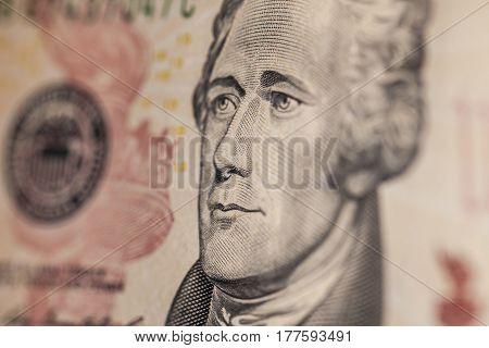Portrait Of Hamilton On A Ten Dollar Bill