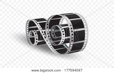 3D vector film strip isolated on transparent background, vector illustration.
