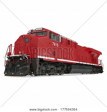 Modern locomotive isolated on white background. 3D illustration