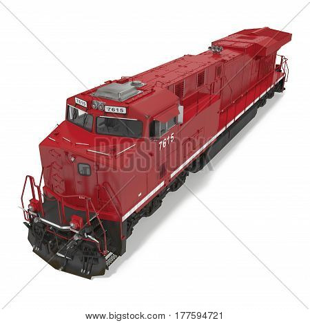 Diesel-electric locomotive on white background. 3D illustration