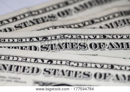 Closeup On One Dollar Bills