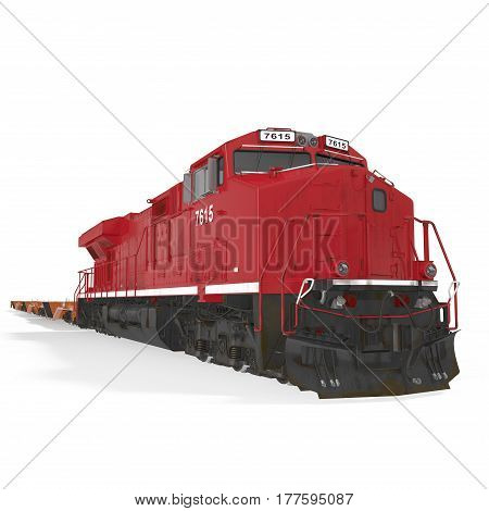 Railroad Locomotive with Heavy Duty Flat Cars on white background. 3D illustration