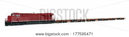 Locomotive and flat cars on white background. 3D illustration