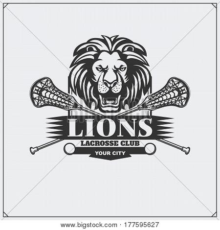 Lacrosse club emblem with lion head. Vector illustration.