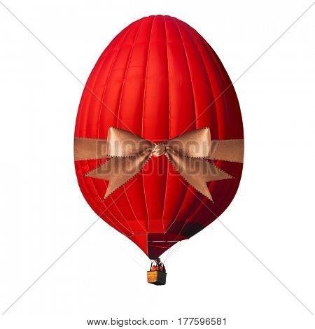Easter decoration concept. Red air balloon in the shape of easter egg with golden ribbon isolated on white with alpha channel and work path, perfect for digital composition