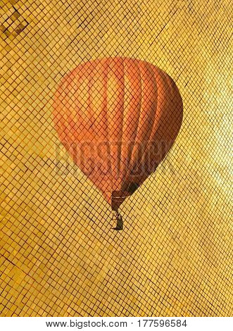 Retro style air balloon on golden pattern. Vintage toning travel background. Modern illustration picture for decoration apartments