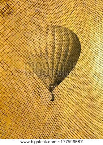 Retro style air balloon on golden pattern. Vintage toning travel background. Modern art illustration picture for decoration apartments