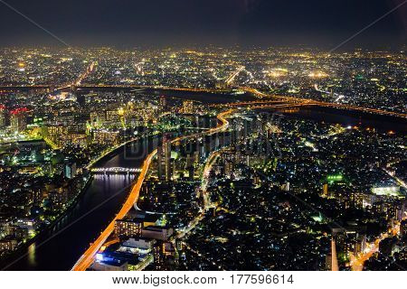 amazing colorful lights at Tokyo night cityscape