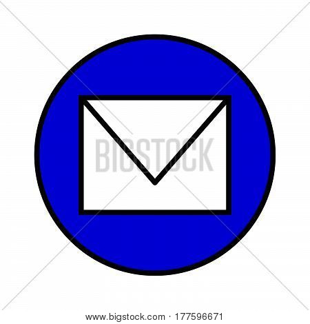 a Simple thin flat color mail icon vector