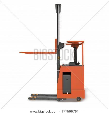 Side view of orange Rider Stacker on white background. 3D illustration