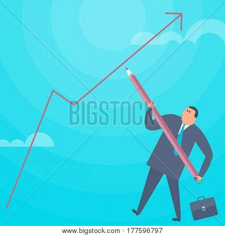 Businessman with a pencil is drawing an increase graph arrow. Flat concept illustration of cartoon man improving business. Vector design element for web business presentation financial infographic.