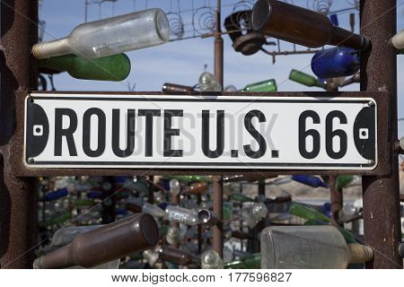 Oro Grande California USA - February 26 2016: Bottle Tree Ranch located on historic Highway Route 66.