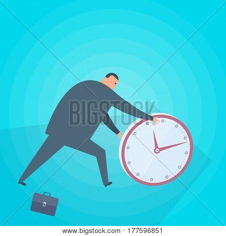 Businessman rolls a clock. Time management flat concept illustration. Man round watch. Business planning deadline perfection success progress accuracy strategy conceptual vector design element.
