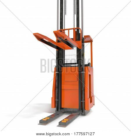 Orange industrial fork lifter for cargo transport isolated on white background. 3D illustration