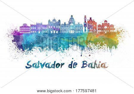 Salvador De Bahia  Skyline In Watercolor