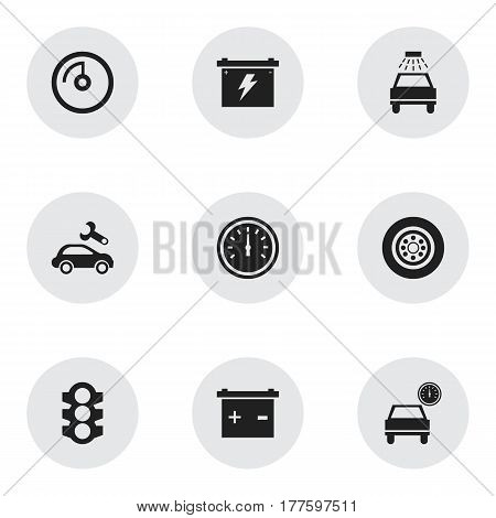 Set Of 9 Editable Car Icons. Includes Symbols Such As Speed Control, Stoplight, Battery And More. Can Be Used For Web, Mobile, UI And Infographic Design.
