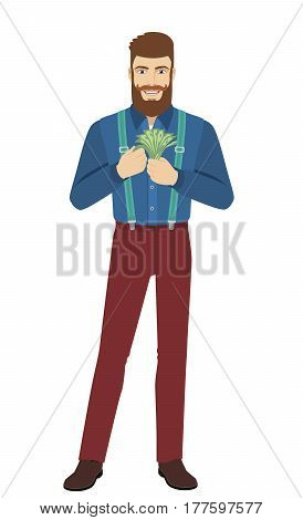 Hipster counts the cash money. Full length portrait of hipster in a flat style. Vector illustration.