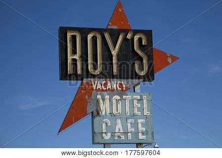 Amboy California USA - February 26 2016: Legendary Roy's Motel and Cafe on historic Hig