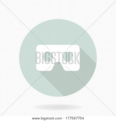 Fine white icon with VR logo in light blue circle. Flat design with long shadow