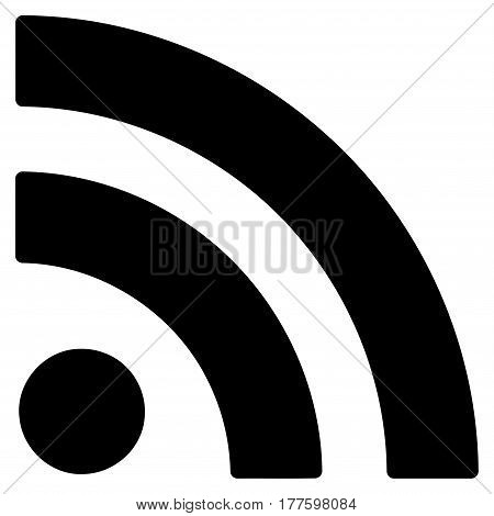 Rss vector icon. Flat black symbol. Pictogram is isolated on a white background. Designed for web and software interfaces.