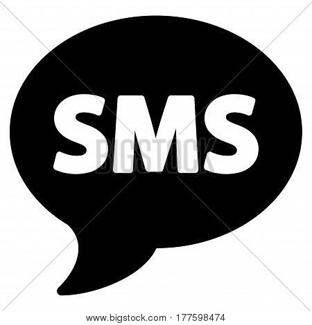 SMS vector icon. Flat black symbol. Pictogram is isolated on a white background. Designed for web and software interfaces.