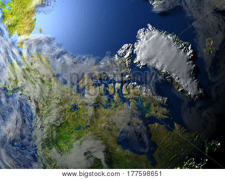 Northern Canada And Greenland On Planet Earth