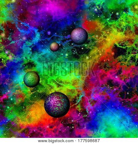 Abstract bright colorful universe with planets, Rainbow colored nebula night starry sky, Multicolor outer space, Galactic texture background, Seamless illustration