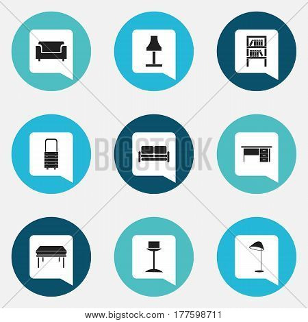 Set Of 9 Editable Home Icons. Includes Symbols Such As Wall Mirror, Enlightenment, Divan And More. Can Be Used For Web, Mobile, UI And Infographic Design.