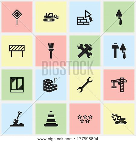 Set Of 16 Editable Building Icons. Includes Symbols Such As Caution, Balcony, Mop And More. Can Be Used For Web, Mobile, UI And Infographic Design.