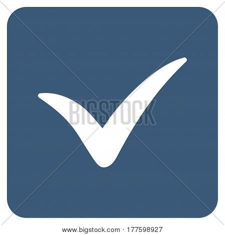 Approve Box vector icon. Flat blue symbol. Pictogram is isolated on a white background. Designed for web and software interfaces.