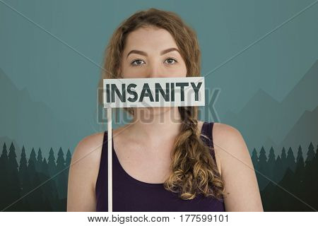 Woman Insanity Concept