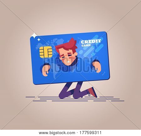 The upset businessman is kneeling and shackled in fetters in the form of a credit card. Concept of squander and credit slavery. Vector illustration.