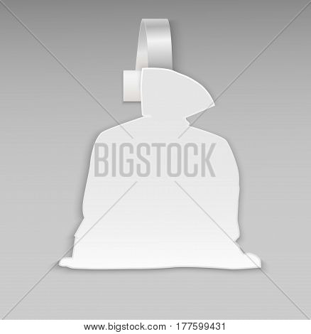 Empty blank white full bag of gifts Santa Claus for your promotion, hot offers. Paper plastic advertising price wobbler isolated. Front view. Stickers for Christmas sale, banner. Vector illustration