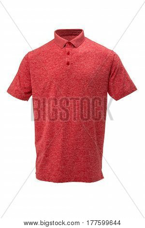 Red and white golf tee shirt with for man on white background