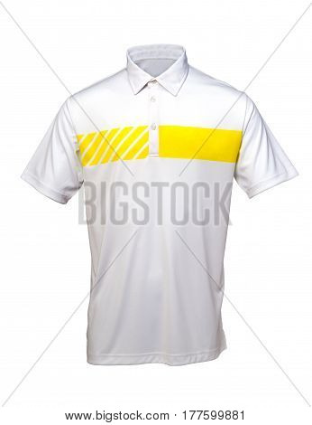 White and yellow golf tee shirt for man or woman on white background