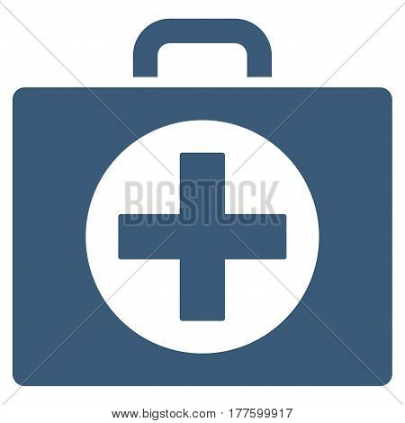 First Aid vector icon. Flat blue symbol. Pictogram is isolated on a white background. Designed for web and software interfaces.