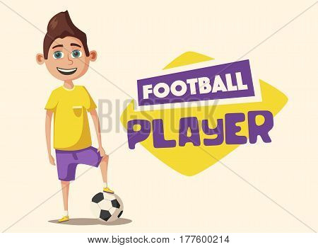 Little football player in uniform with the ball. Cartoon vector illustration. Kid character