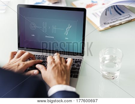 Illustration of biology humanity life science genetic research on laptop