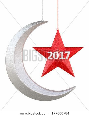 3d render New year 2017 Moon and star shape christmas decorations render (isolated on white and clipping path)