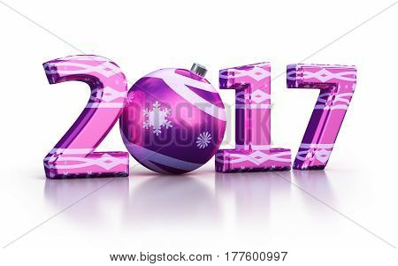 3d render New Year 2017 and Christmas ball (isolated on white and clipping path)