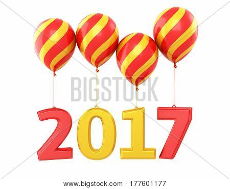 3d render New Year 2017 and colorful balloons (isolated on white and clipping path)