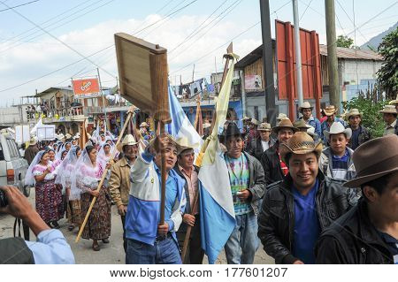 Mayan Indigenous Celebrating The Arrival Of The Bishop At San Pedro On Lake Atitlan