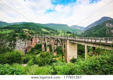 Concrete arch Durdevica Bridge over Tara River Canyon, mountain valley and forest landscape in Durmitor National Park, Montenegro.