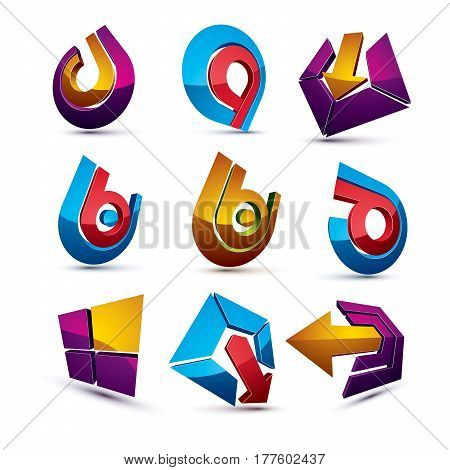 Geometric Abstract Vector Shapes. Collection Of Arrows, Navigation Pictograms And Multimedia Signs,