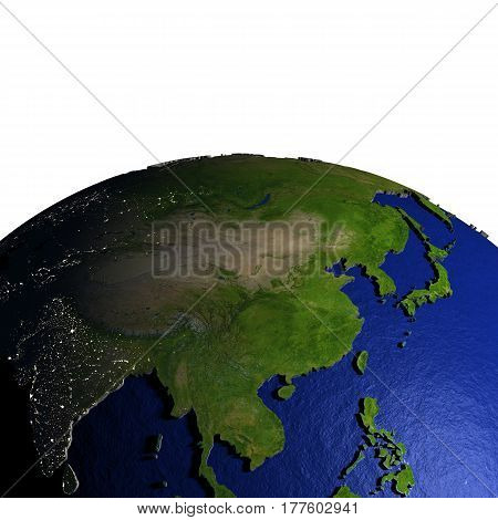 East Asia On Model Of Earth With Embossed Land